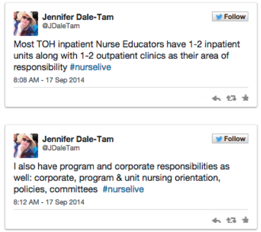 nurse educator live tweets