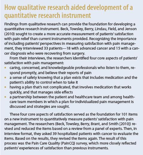How qualitative research aided development of a quantitative research instrument.