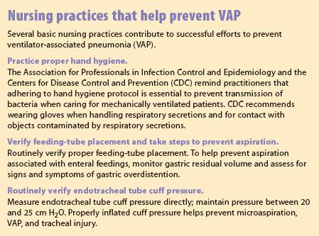 Nursing practices that help prevent VAP