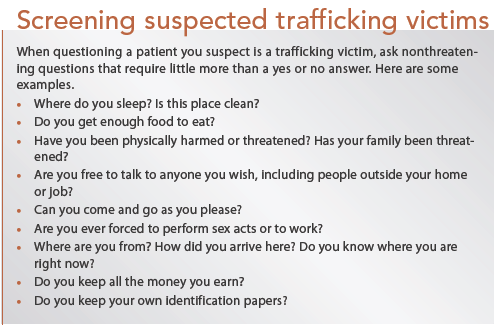 Screening suspected trafficking victims